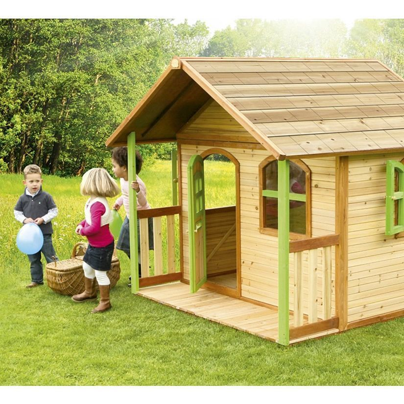Children Playhouse Cedar Wood 3 Windows Outdoor Garden