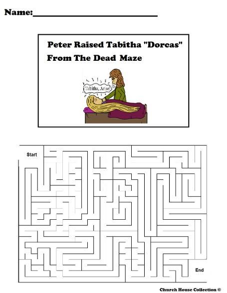 Peter Raised Tabitha Dorcas From The Dead Maze Free Printable Mazes For Sunday School Class Or Childrens Church