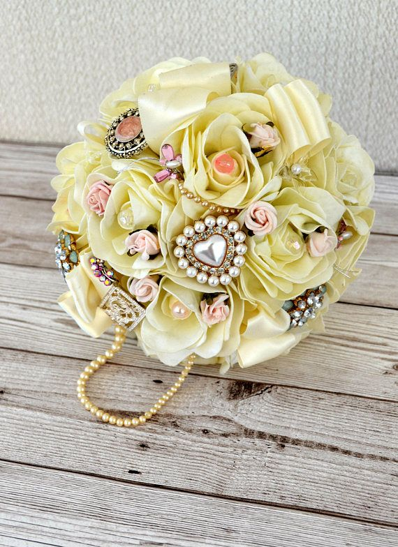 Wedding bridal Bouquet Ivory Blush Pink  fabric flowersand