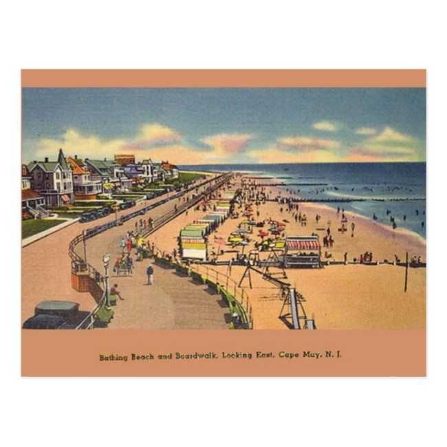 Vintage Bathing Beach Cape May NJ Postcard #vintage #cape #may #retro #cape