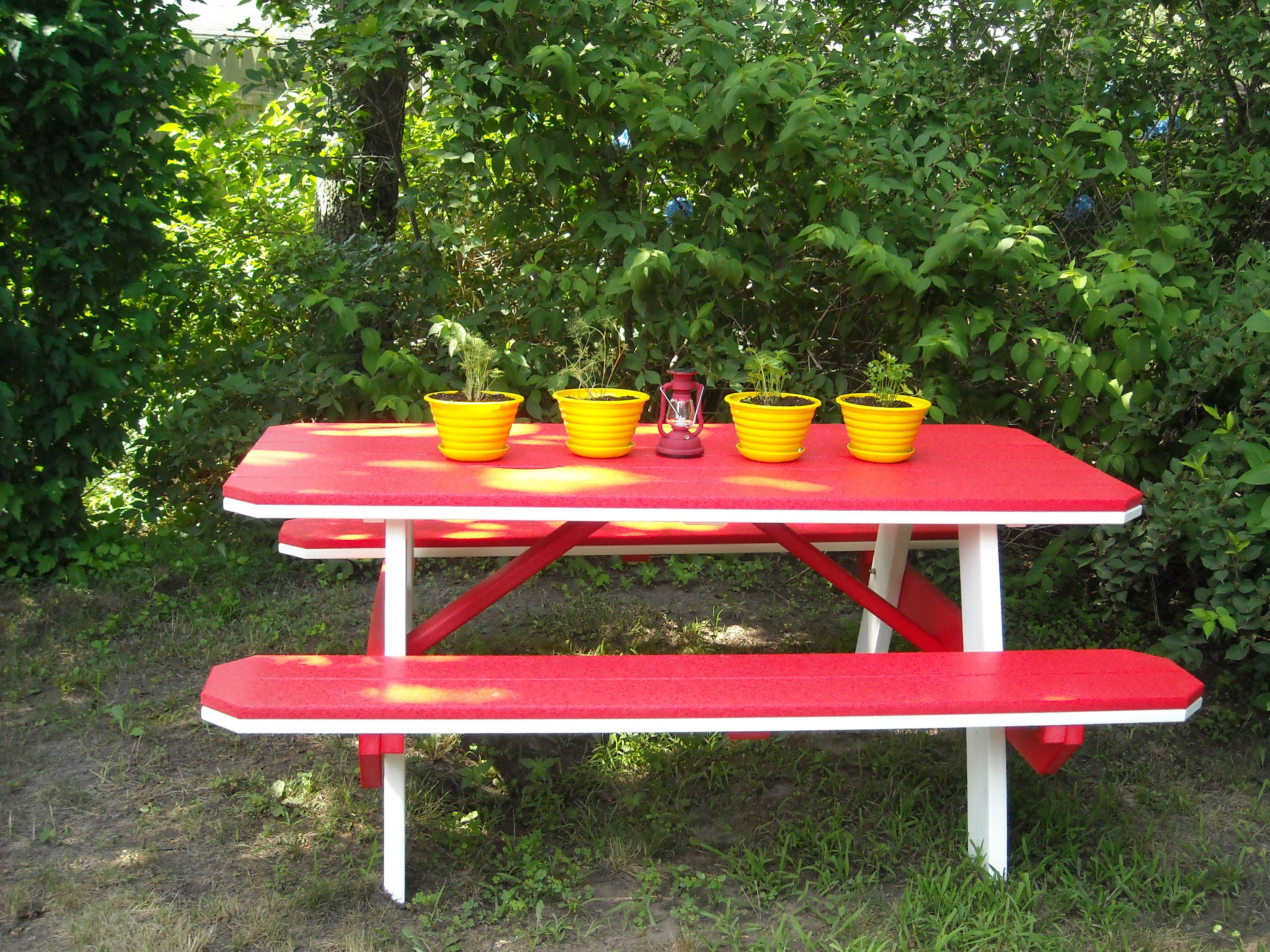 Polywood picnic table and vintage midcentury hard plastic planters