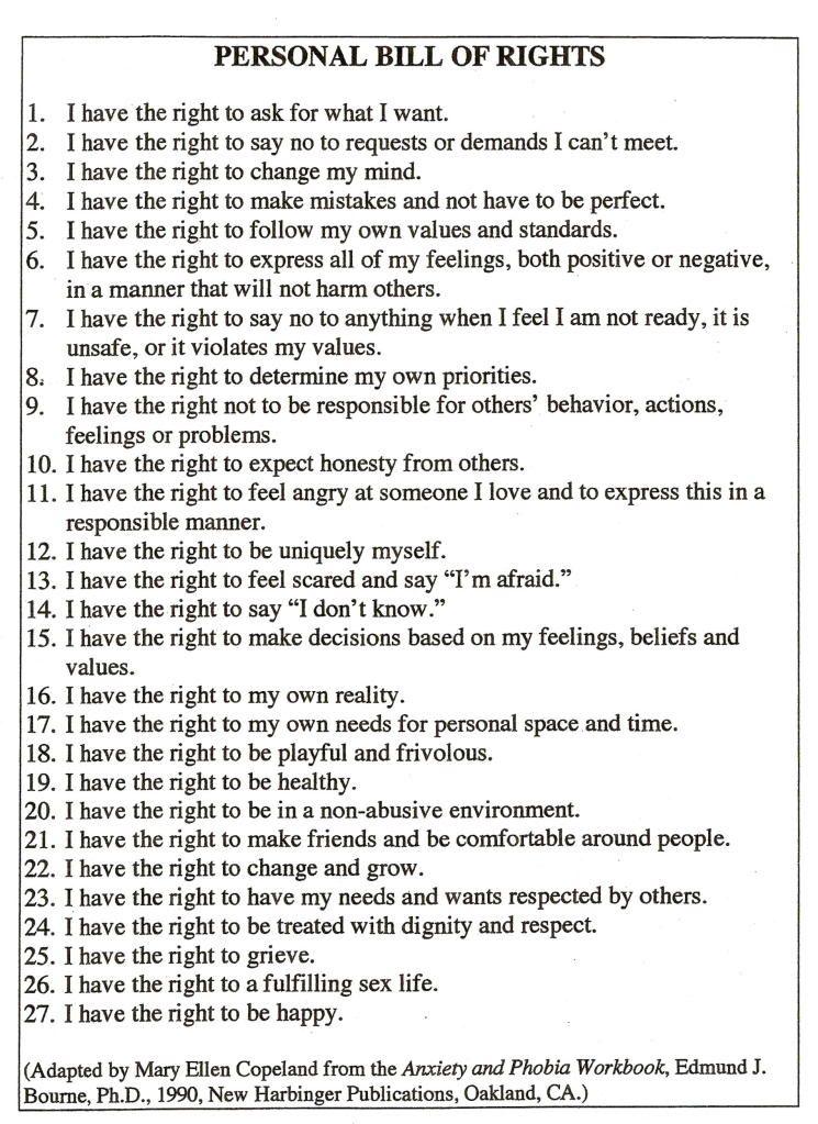 Personal Bill Of Rights Post Traumatic Stress Disorder Post Traumatic Stress Emotional Health