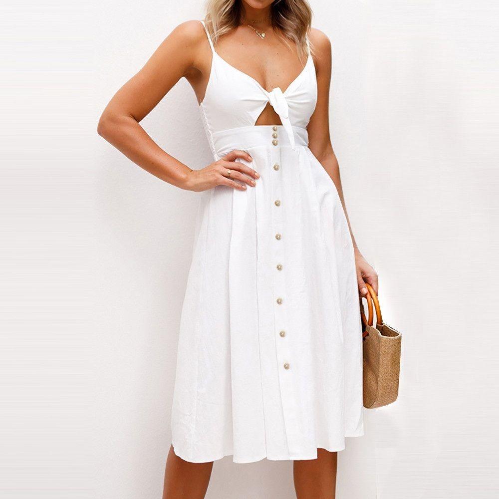 New White A Line Bust Tie Bottom Button Up Women Dress Knee Length Spring Summer Spring Dresses Women White Dress Summer Womens Dresses [ 1000 x 1000 Pixel ]