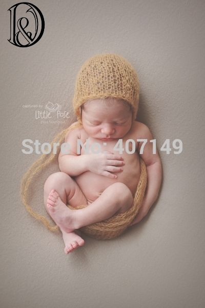 Newborn hand knitting mohair bonnet angola mohair baby shower gift infant props baby photography props