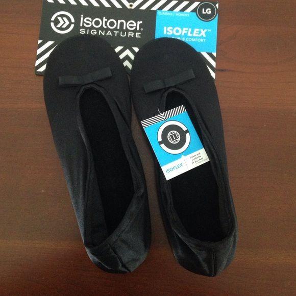 Brand new Isotoner Isoflex slippers Black satin finish slippers...Brand new with tags! Isotoner Shoes Slippers