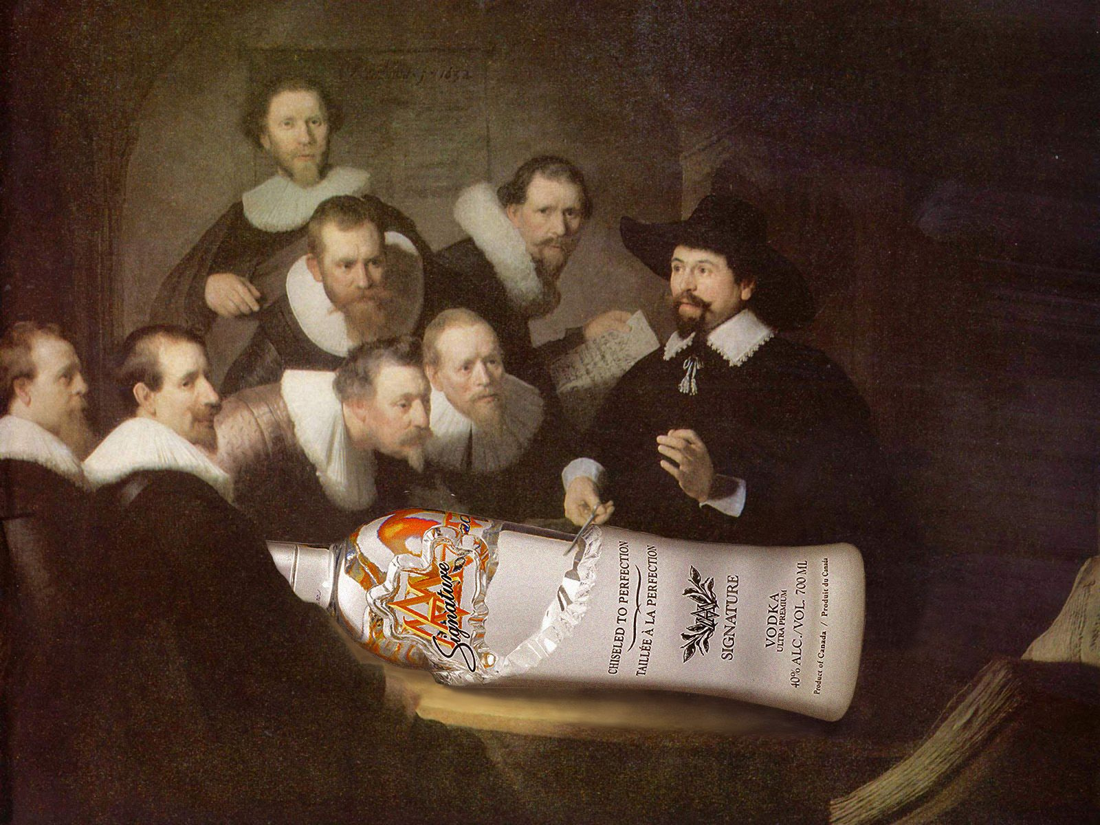 "Signature vodka (Canada) & Rembrandt ""The Anatomy Lesson of Dr ..."