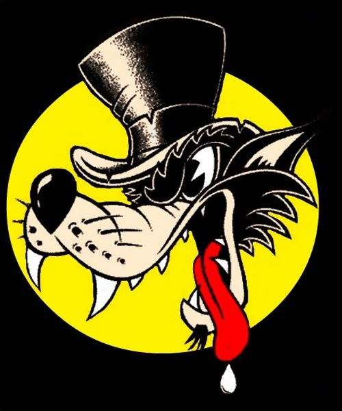 Big Bad Wolf Rockabilly Art Cartoon Clip Art Bad Wolf Tattoo