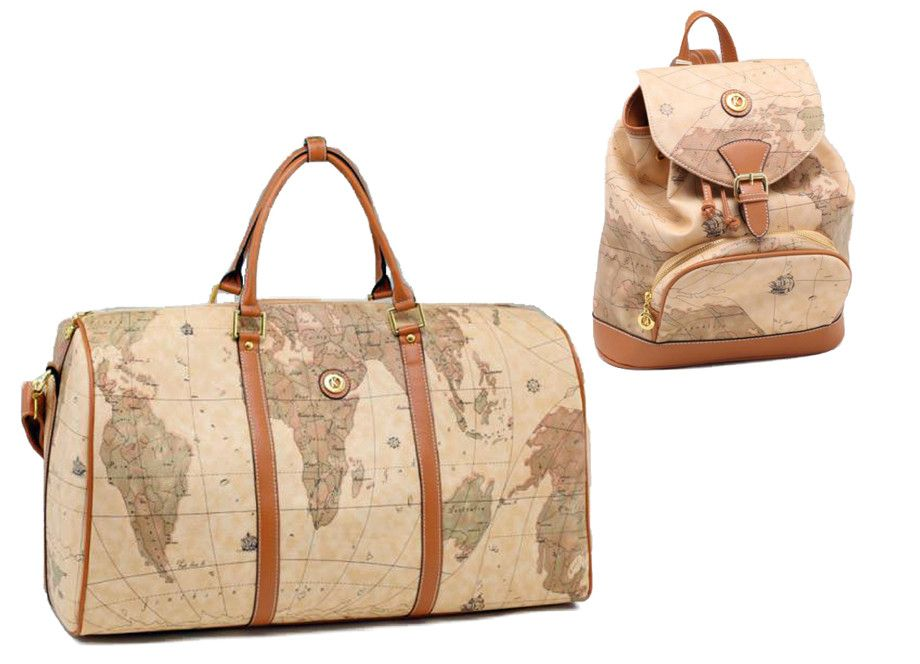 Vintage style world map duffle travel bag and backpack set by k vintage style world map duffle travel bag and backpack set by k collection jkm and gumiabroncs Image collections