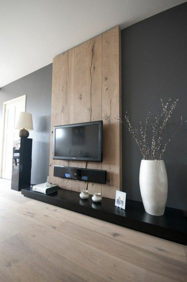 Idea for tv wall. Use light grey tile around fireplace and shou sugi ...