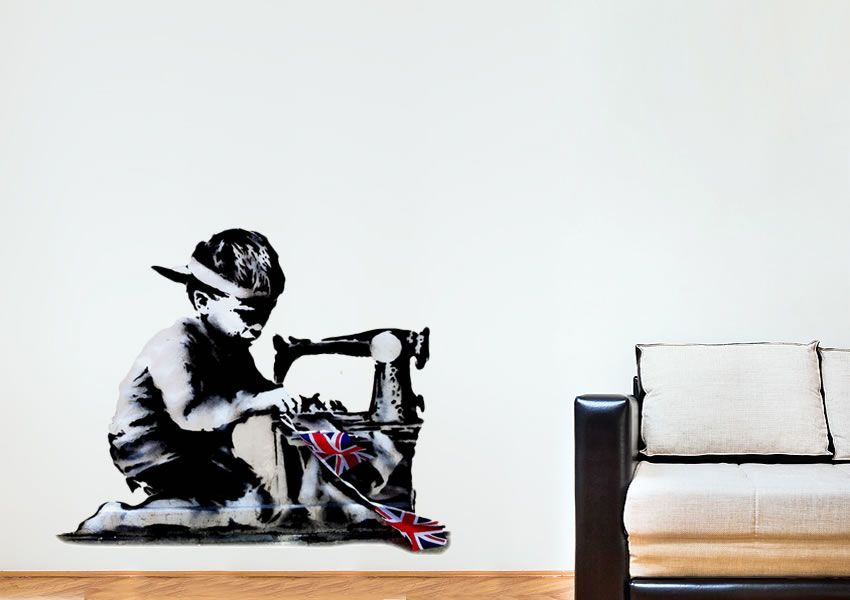 banksy sticker child bunting wall sticker | home sweet home