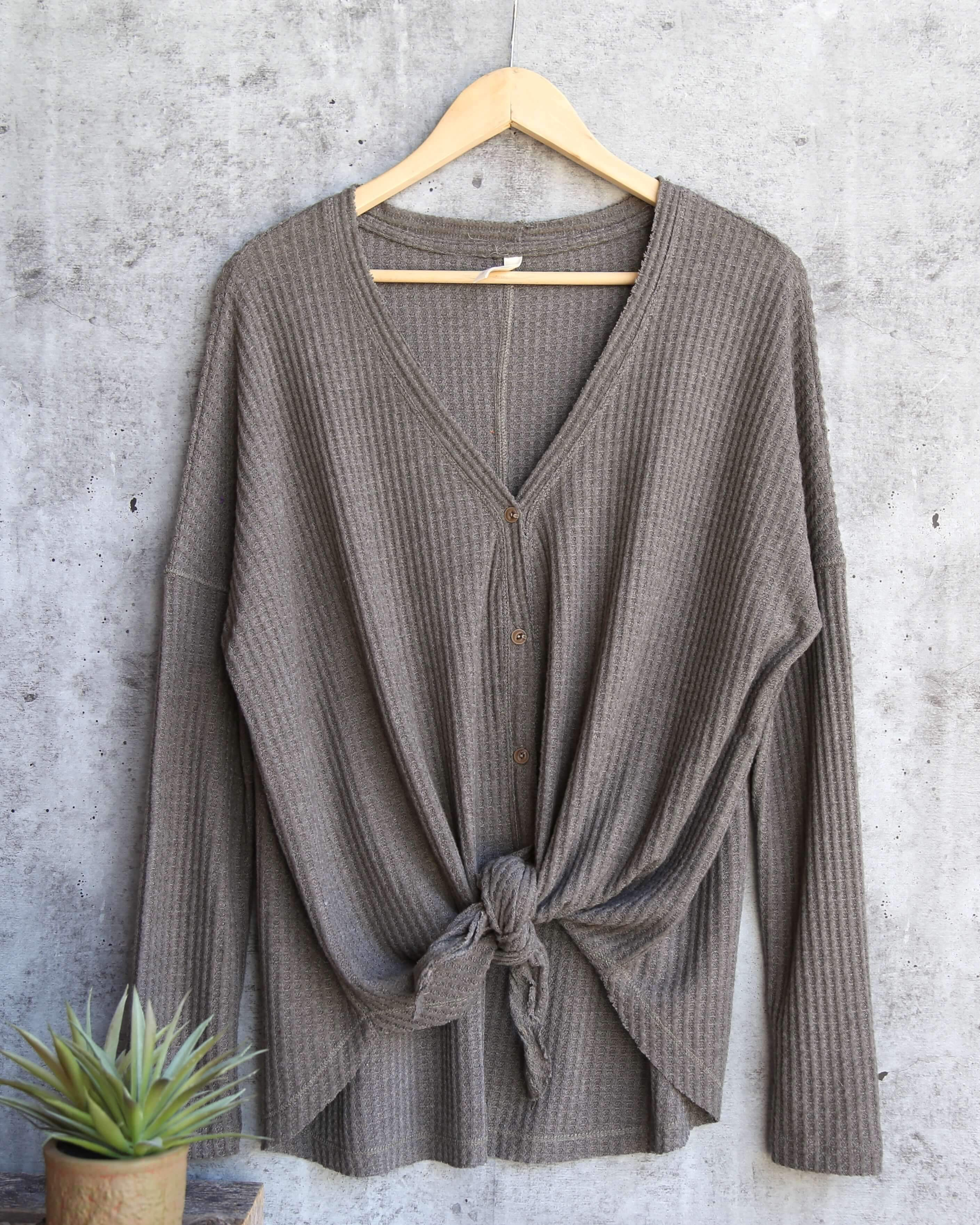 EVA - long sleeve thermal waffle knit v neck button down lightweight sweater  - olive 8924ed0cf