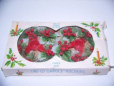 Vintage Candle Glo, 2 Holly Berry Decorated Plastic Candle Holders,