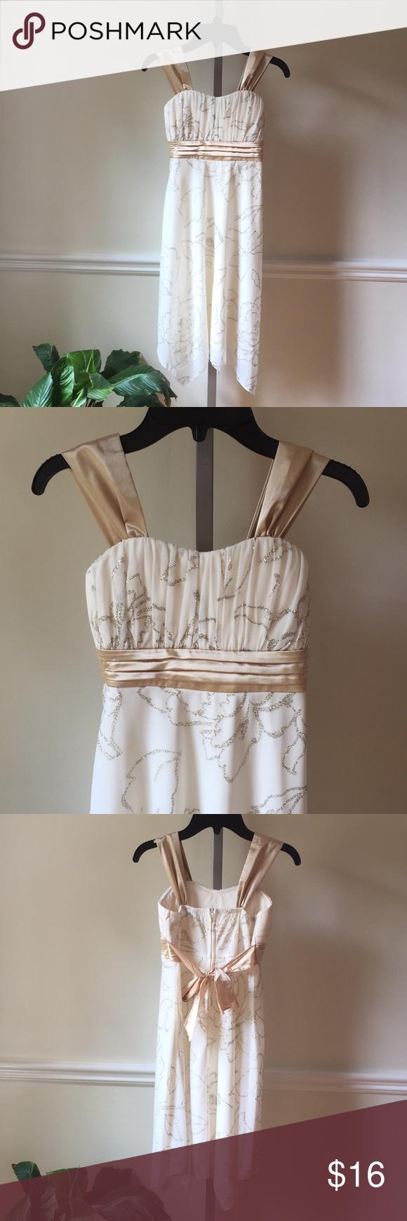 Girls size dress straps cream gold sparkle bow my posh closet