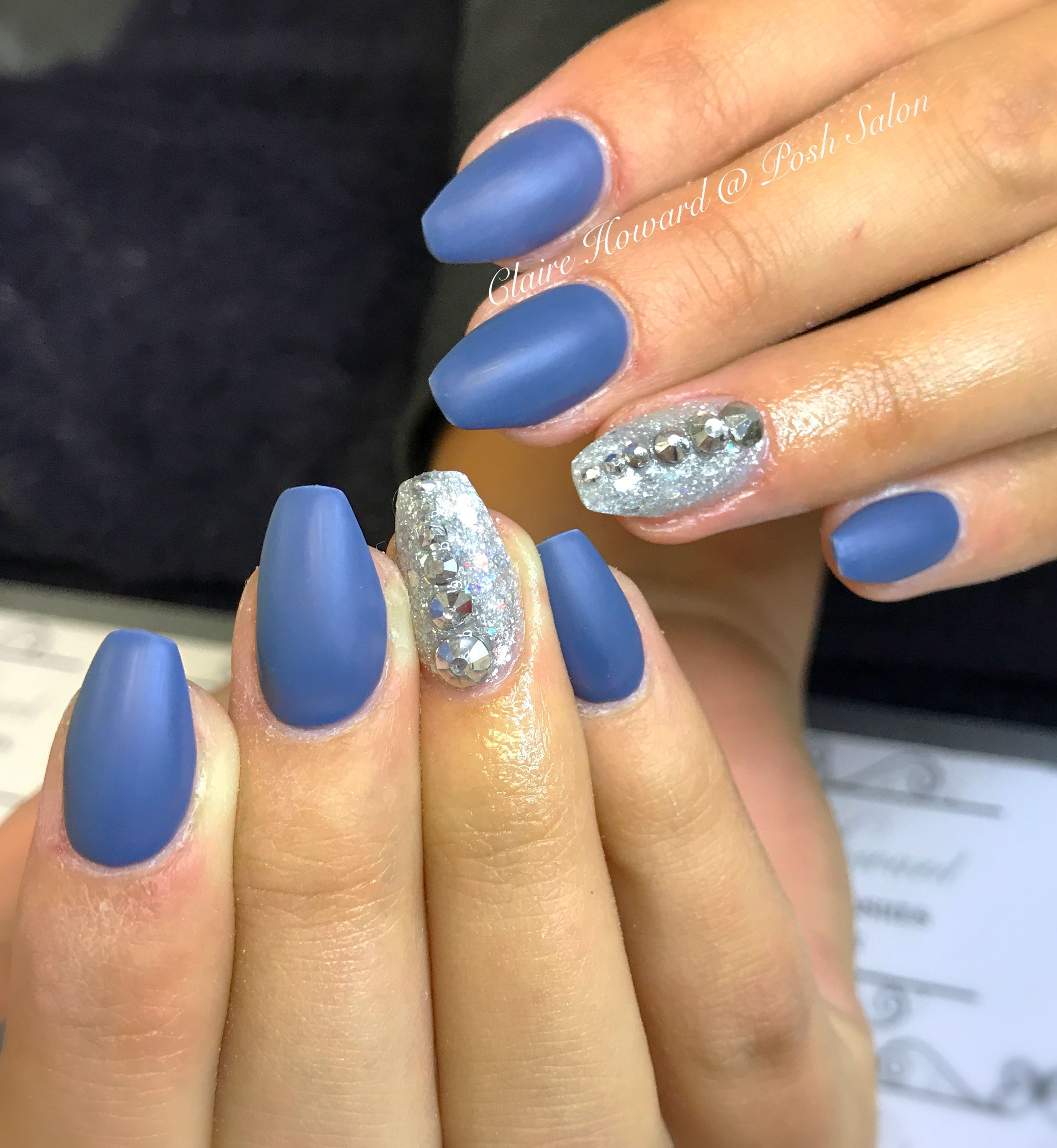 beautiful matt blue nails. acrylic nails tapered square with shellac ...