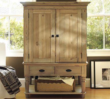 Mason Media Armoire - Wax Pine finish #potterybarn