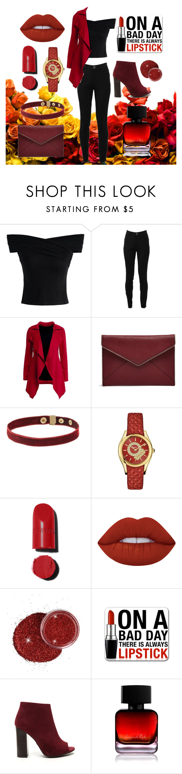 """""""Lipstick"""" by amandaubub ❤ liked on Polyvore featuring Chicwish, Victoria Beckham, Rebecca Minkoff, Salvatore Ferragamo, Chanel, Lime Crime and The Collection by Phuong Dang"""