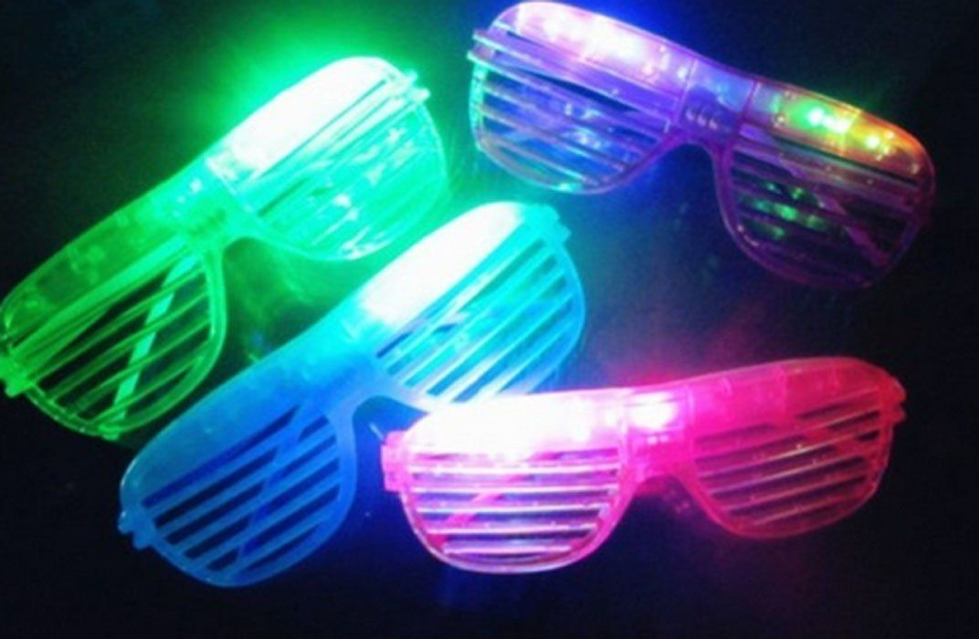 Flashing LED Multi Color /'Slotted Shutter/' Light Up Show Toy Sunglasses 12 Pcs