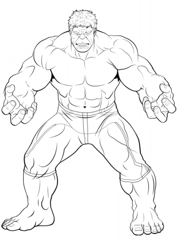 Avengers The Hulk Dibujo para colorear | Superheroe | Hulk coloring ...