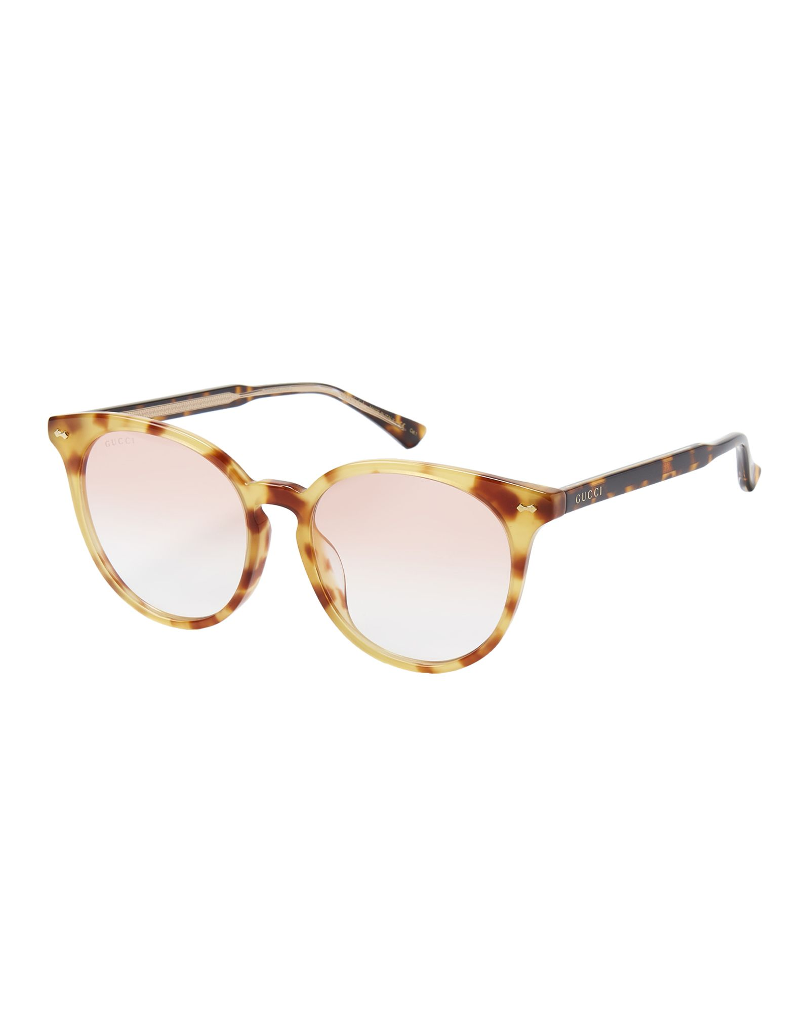 b1b2ee67a0865 Gucci GG0195SK Orange Tortoiseshell Round Sunglasses