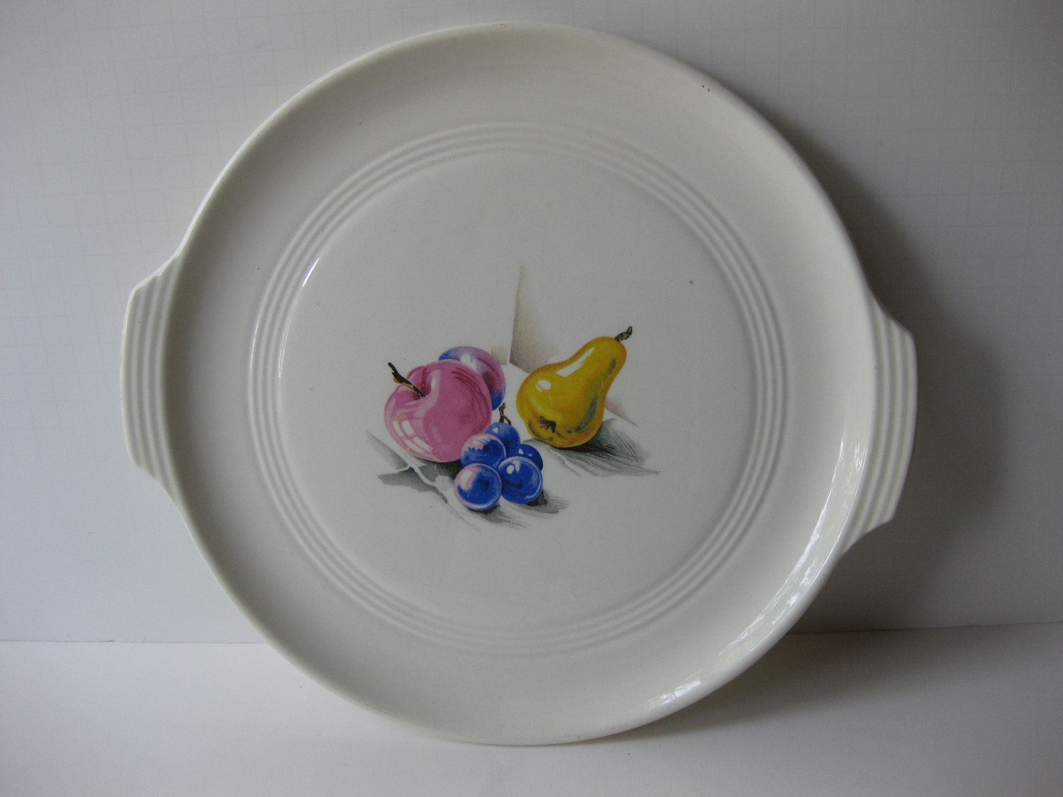 Knowles Utility Ware Serving Plate Pink Blue Yellow Fruit Vintage Dishes Pink Blue Blue Yellow