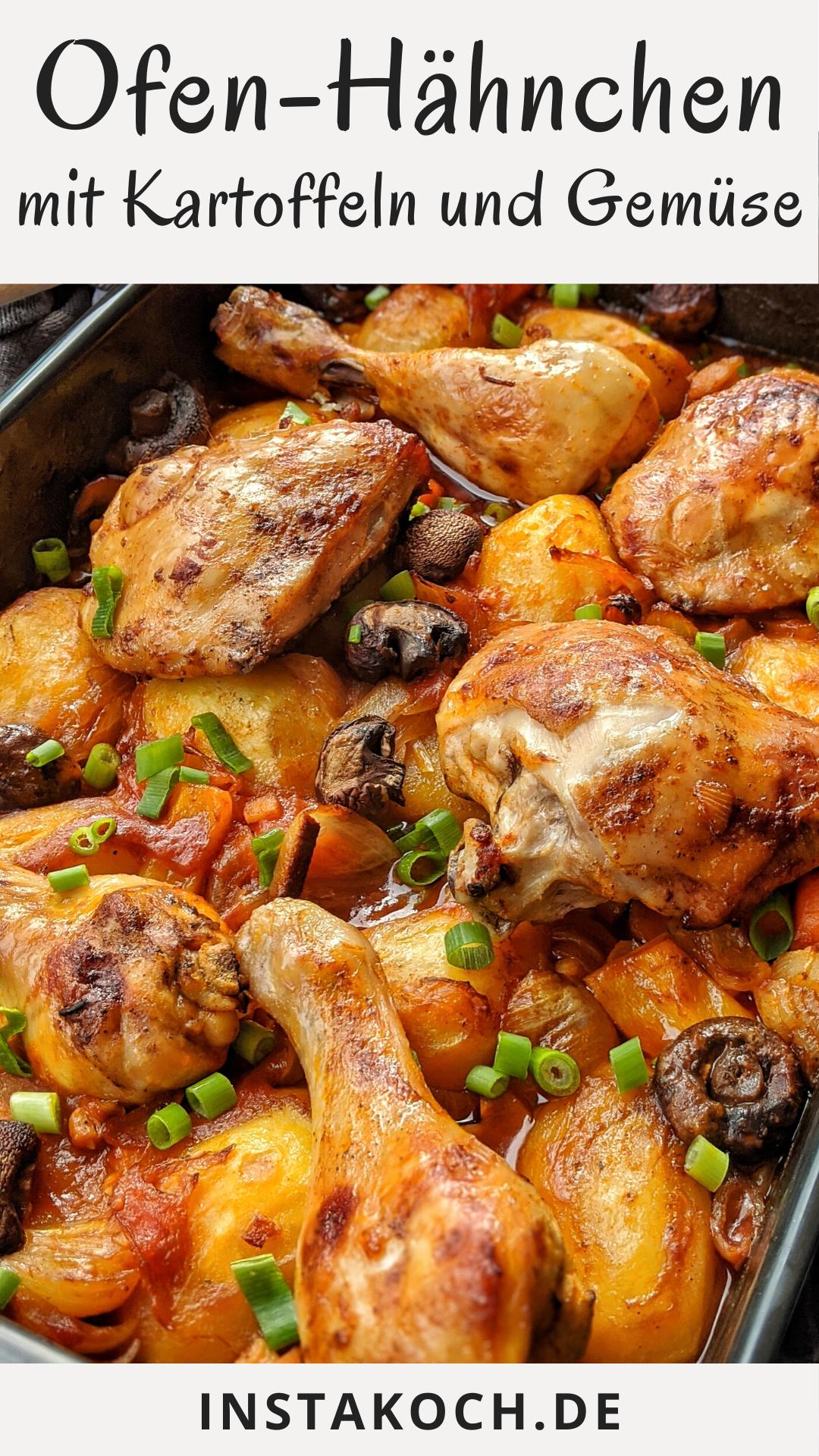 Ofen-Hähnchen mit Kartoffeln und Gemüse in Tomatensoße ist ein tolles einfaches Rezept, das jeder leicht zu Hause nachkochen kann. Langsam im Ofen gegart, wird das Hähnchen herrlich zart und die Haut schön knusprig. Ein tolles Essen für die ganze Familie und auch Kinder lieben es. #hähnchen #gefluegel #ofengericht #ofenhähnchen #kinderessen #familienessen #kochen #einfacherezepte