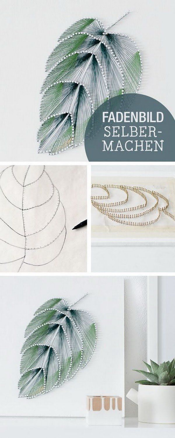 DIY Thread Leaf Wall Art. Wall art doesn\'t have to be expensive to ...