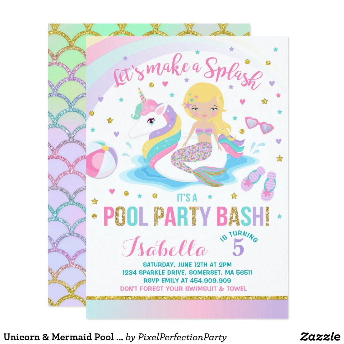 Unicorn Mermaid Pool Party Birthday Invitation Zazzle
