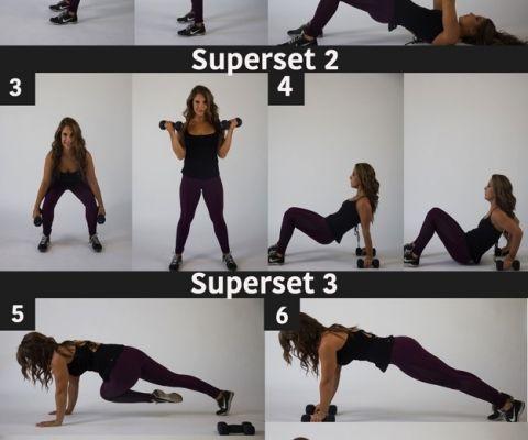 Cada ejercicio 20 seg con 10 de descanso y dos veces cada circuito con un minuto de descanso entre circuitos