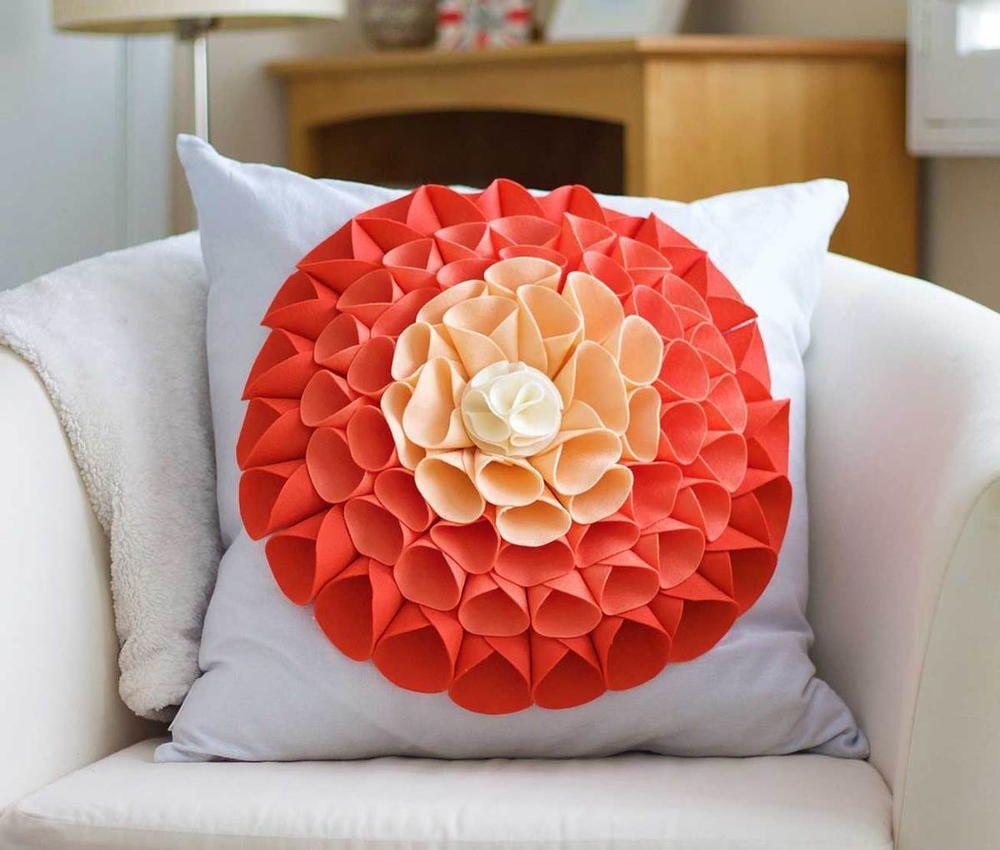 Flower nosew pillow sew pillows craft and tutorials