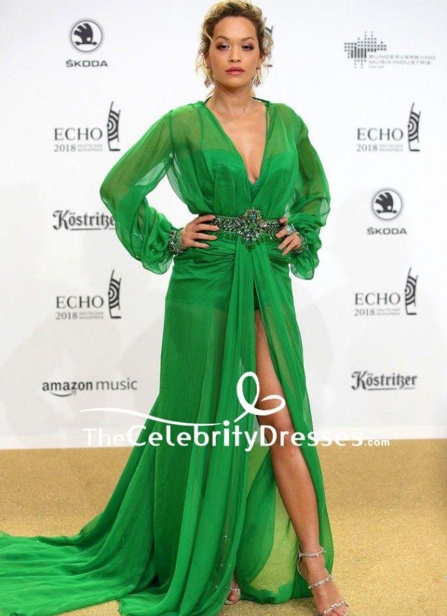 RitaOra #GreenDresses Beaded High Slit Formal Dress With Long ...