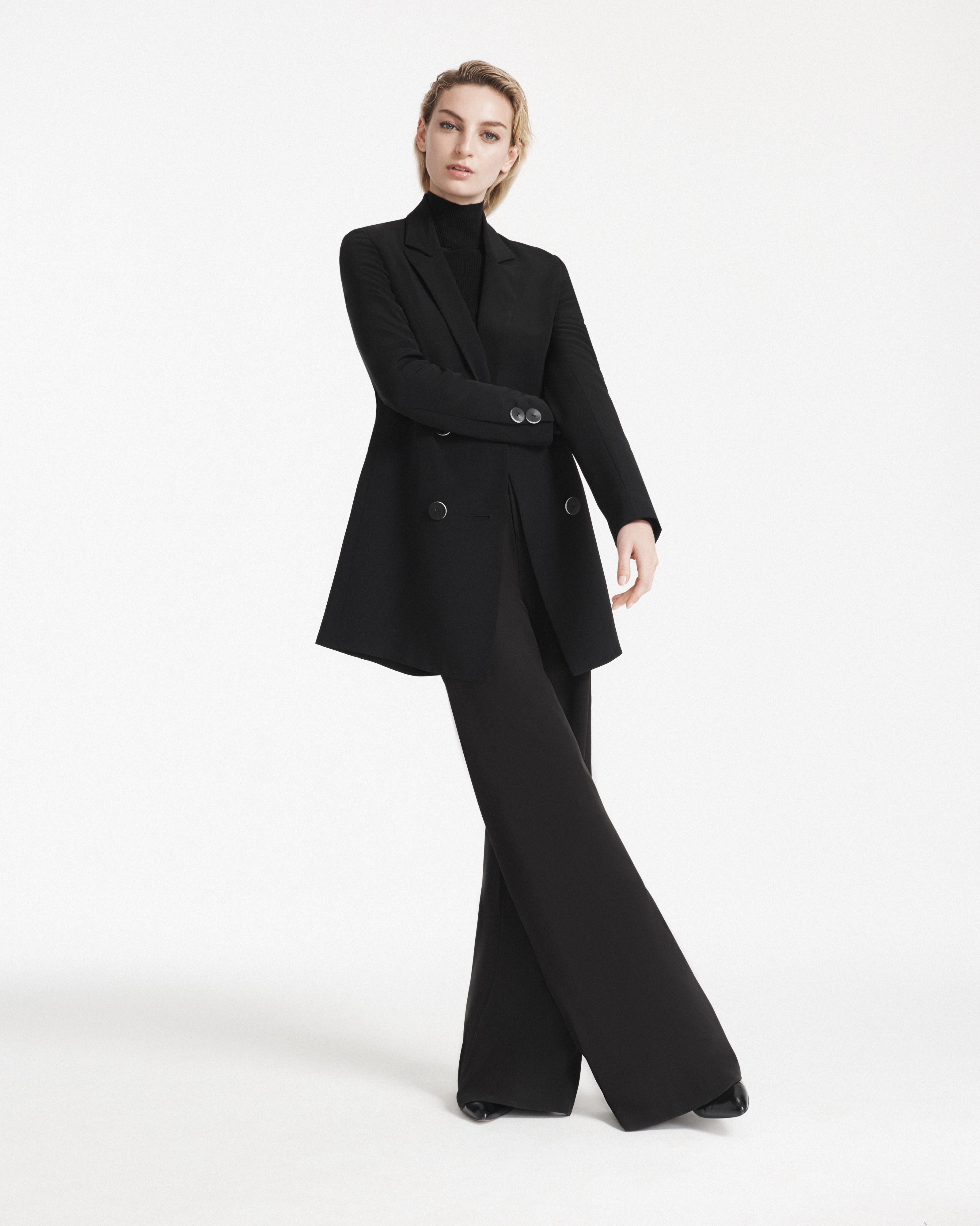 163c279ccd The Florence Blazer Dress layered over the Chiara Jumpsuit and Beatrice  Turtleneck