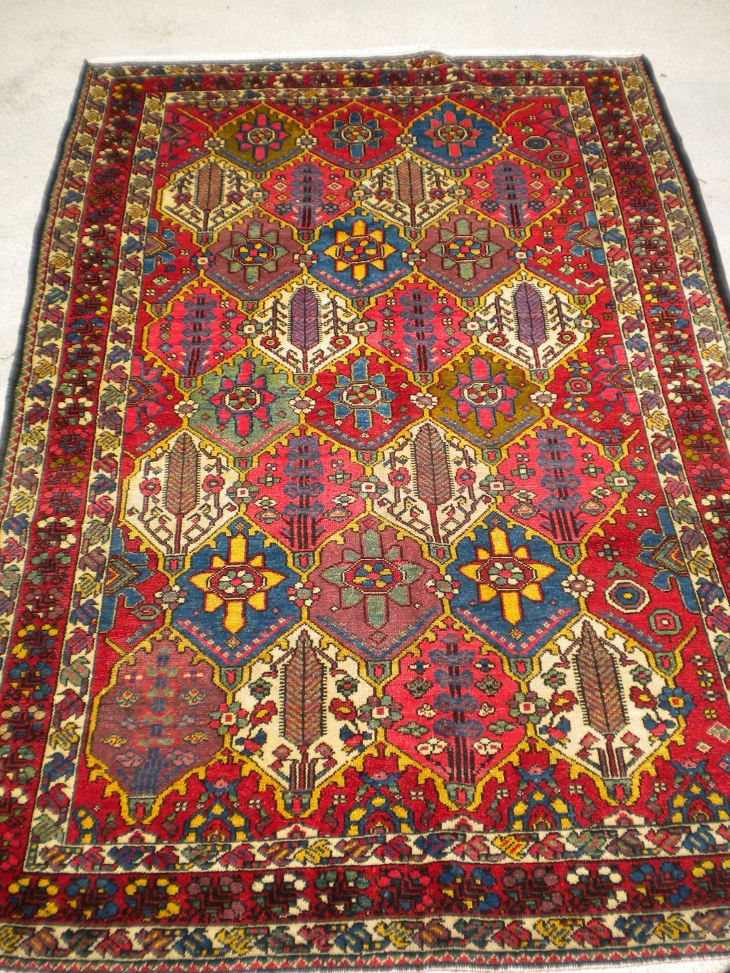 """Antique Persian Bakhtiari From The 1920's 4'4""""x 6'5"""""""