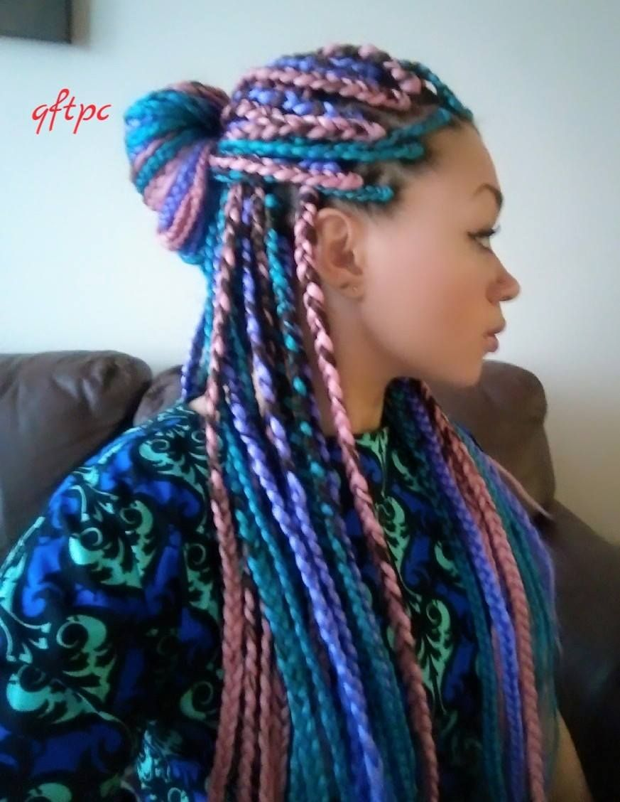 I Tried It Multicolored Box Braids Protective Styles Pinterest