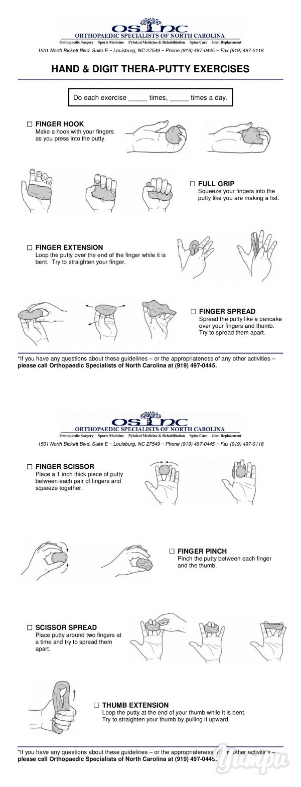 Hand Amp Digit Theraputty Exercises Magazine With 3 Pages