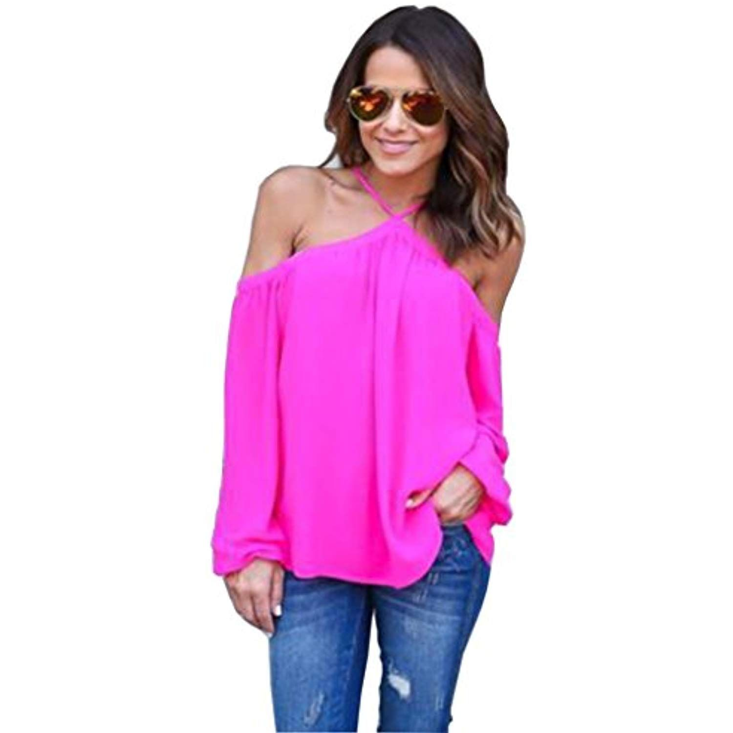 2d4f497f69ca56 Women's Sexy Spaghetti Strap Off Shoulder Shirt Tops Blouses >>> Read more  reviews of the product by visiting the link on the image. (This is an  affiliate ...