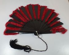 Early Antique Victorian Edwardian Red Ostrich Feather Bakelite Folding Hand Fan