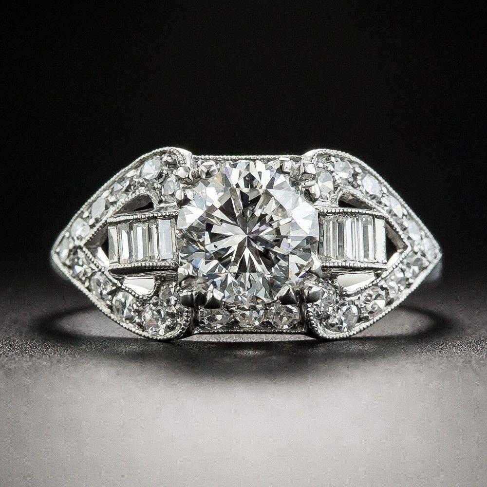 1.32 Carat Diamond Platinum MidCentury Engagement Ring