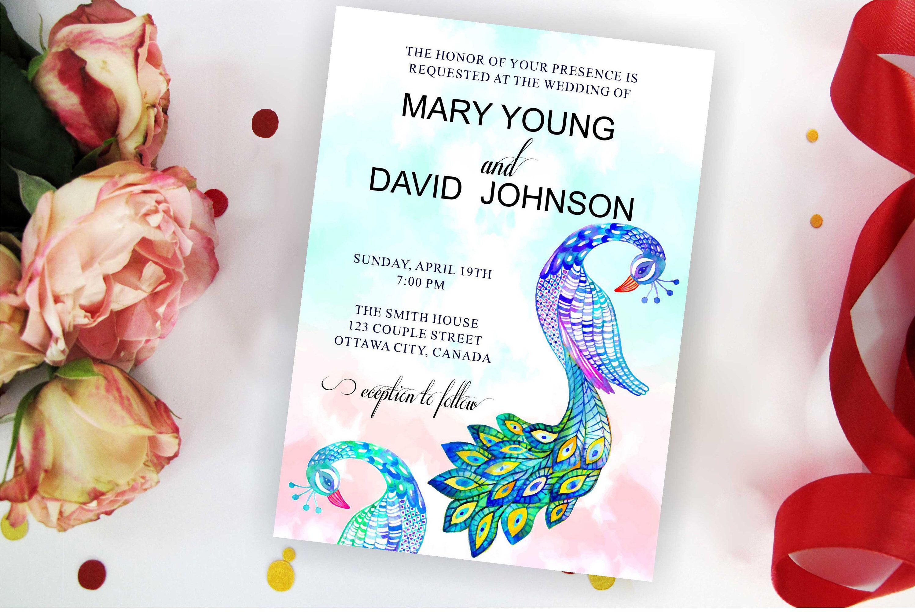 Watercolor Peacock Wedding Invitation Peacock Bridal Shower Invite