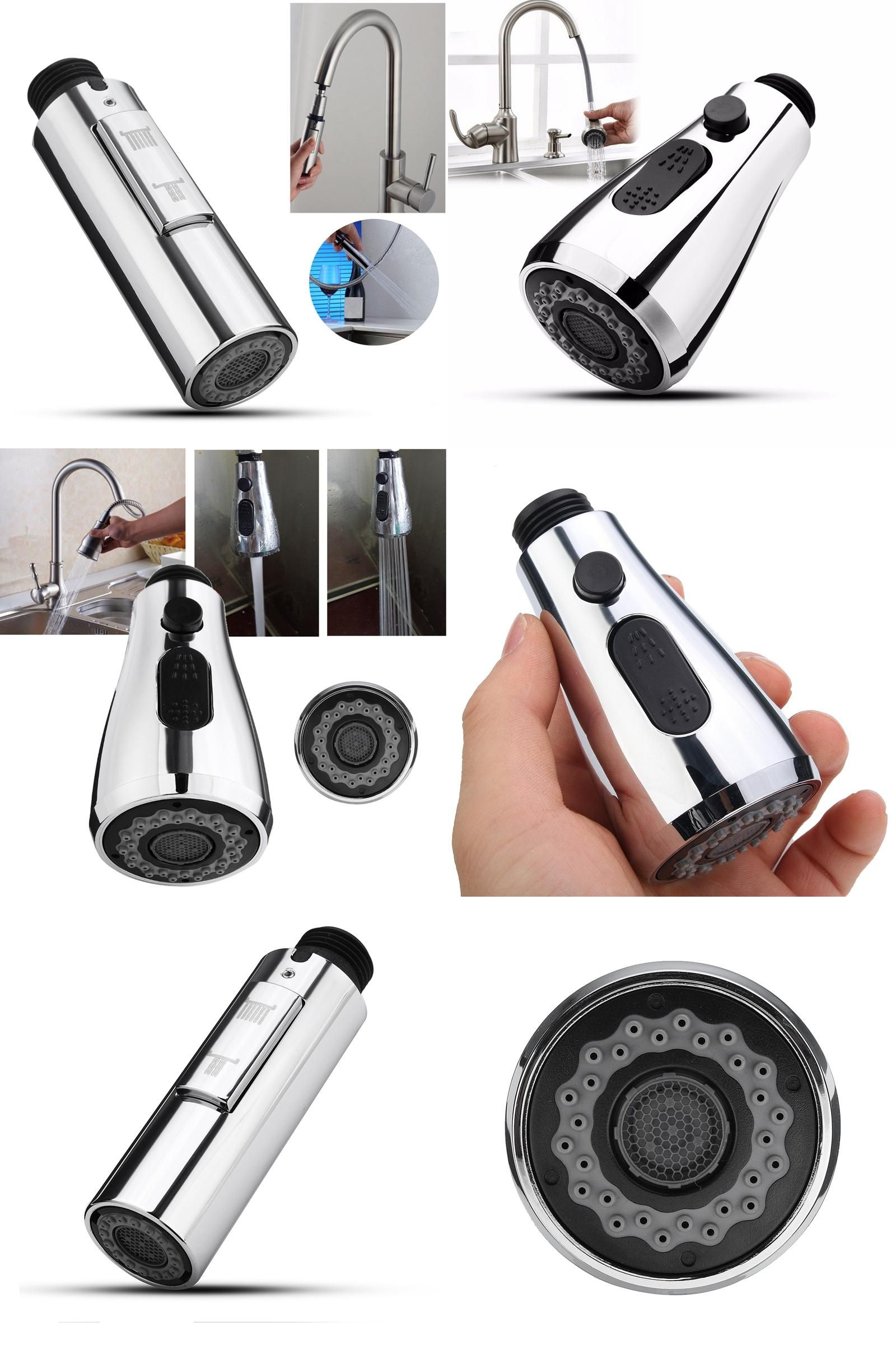 Visit to Buy] 1pc Pull Out Down Kitchen Faucet Spray Nozzle 360 ...