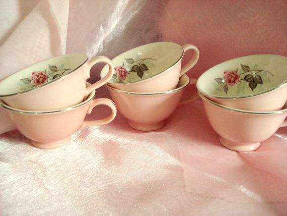 Vintage Shabby Teacups Pink with Rose Motif Set of 6 Cottage Chic Replacement China