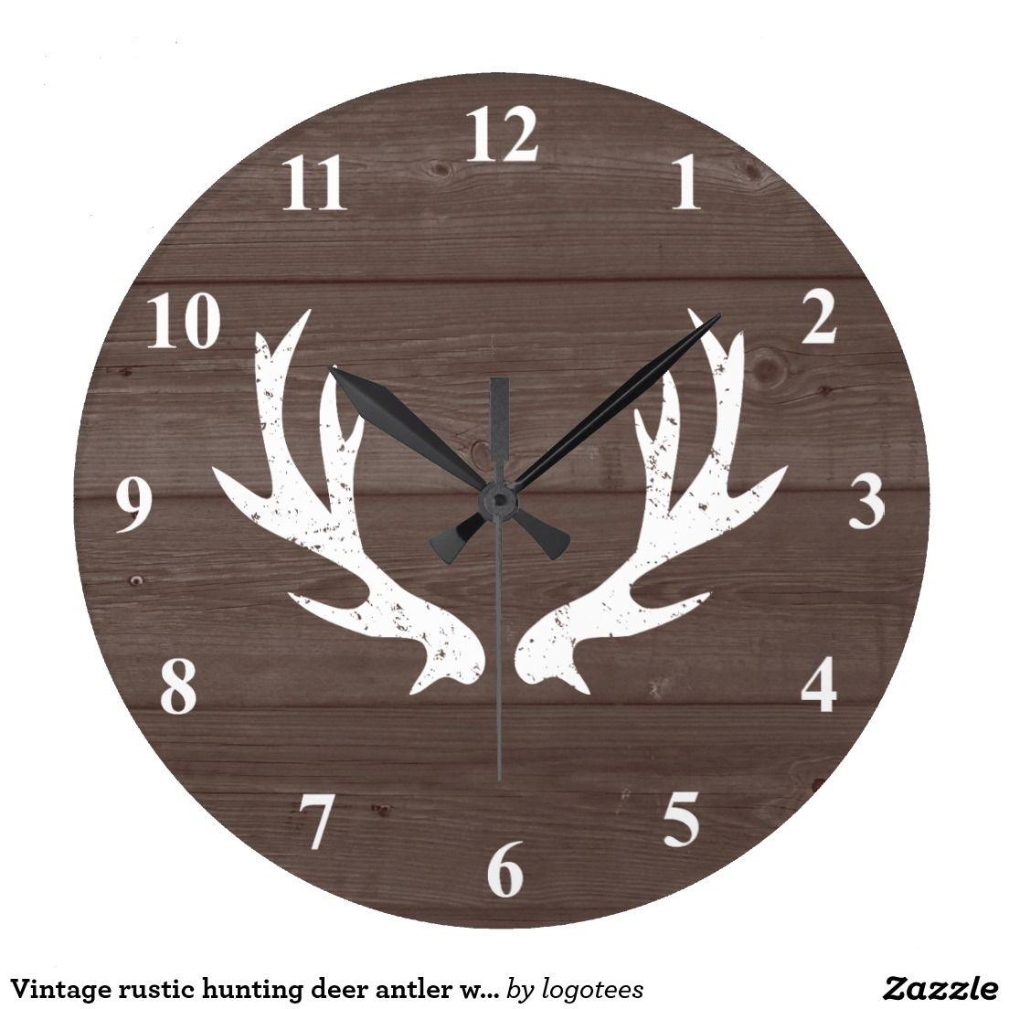 Vintage Rustic Hunting Deer Antler Wood Wall Clock Zazzle Com Wood Wall Clock Deer Bedroom Decor Wall Clock
