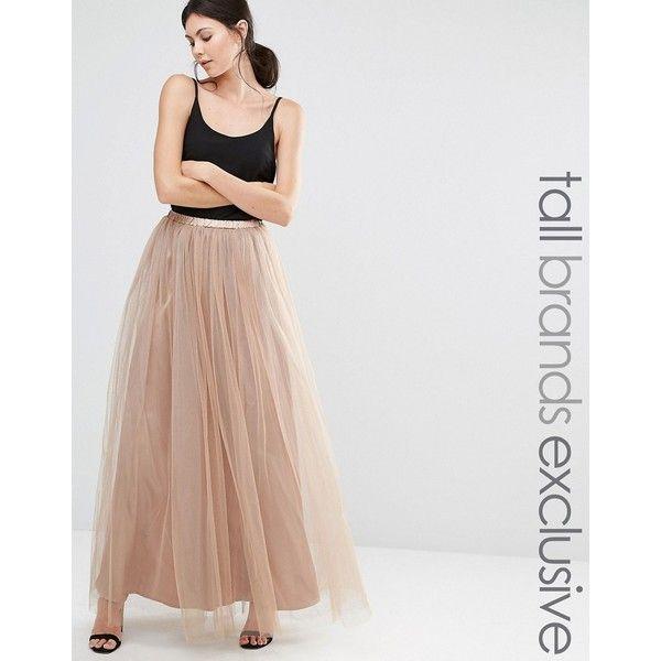 True Decadence Tall All Over Tulle Full Maxi Skirt ($57) ❤ liked on Polyvore featuring skirts, tan, floor length tulle skirt, elastic waist skirt, layered tulle skirt, layered maxi skirt and maxi skirt