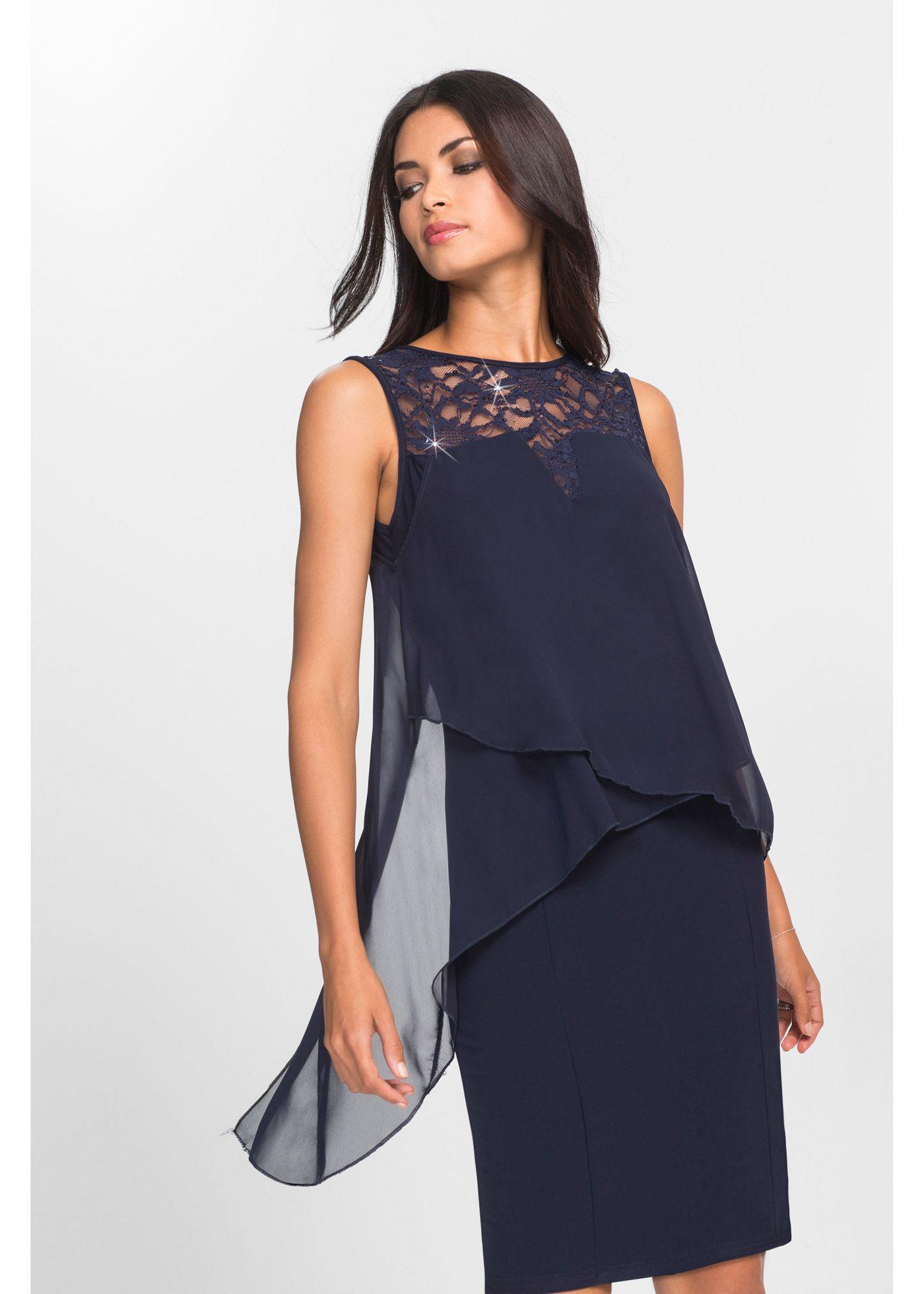 Kleid aus Jersey und Chiffon mitternachtsblau jetzt im Online Shop