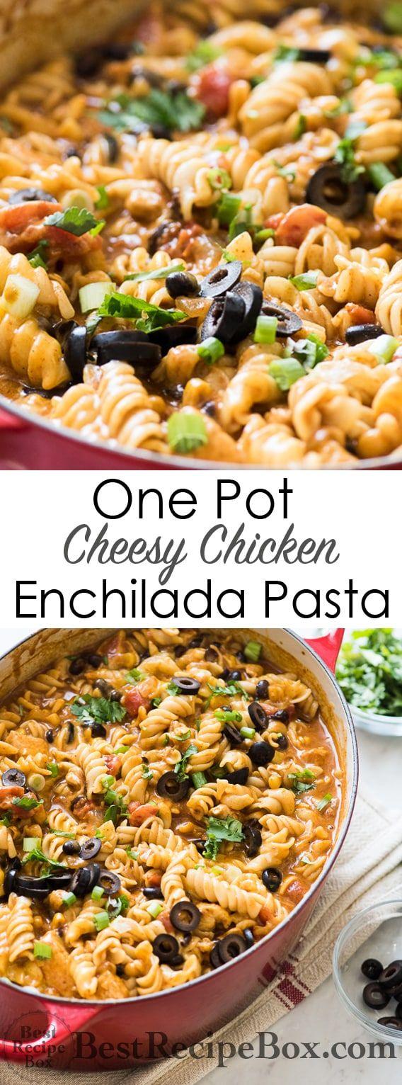 One Pot Chicken Enchilada Pasta Casserole Recipe
