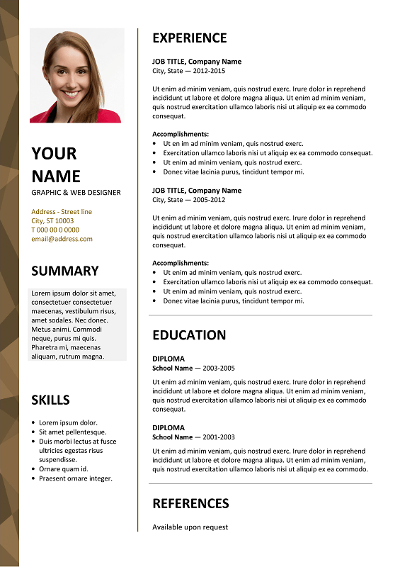 Free Resume Templates For Microsoft Word Dalston Free Resume Template Microsoft Word  Brown Layout