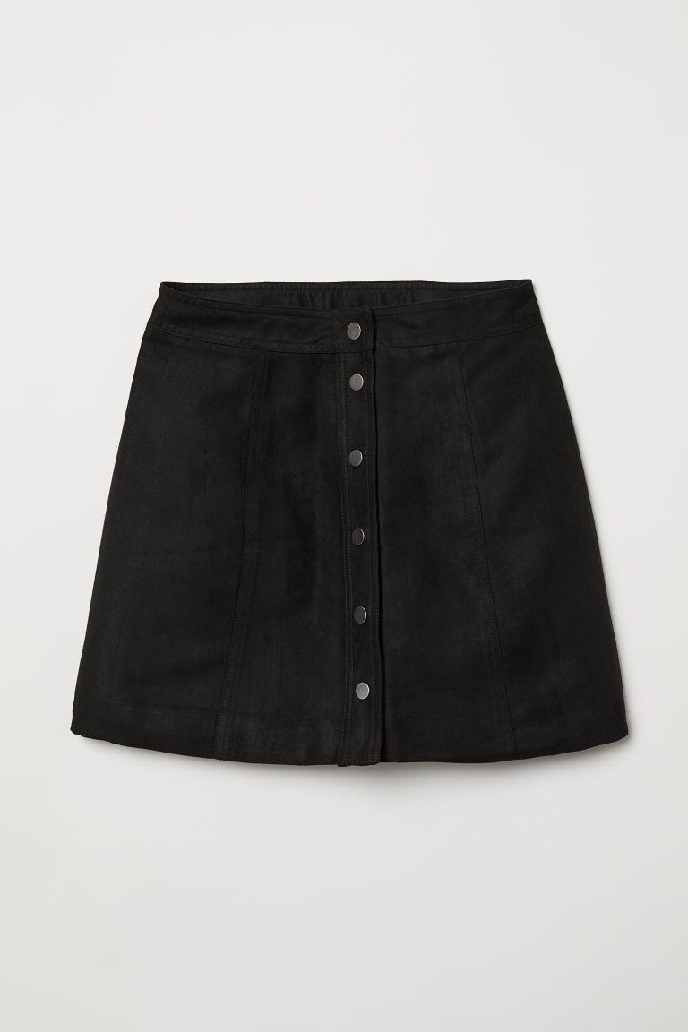A Line Skirt Black Imitation Suede Ladies H M Gb Mini Skirts A Line Skirts Skirts