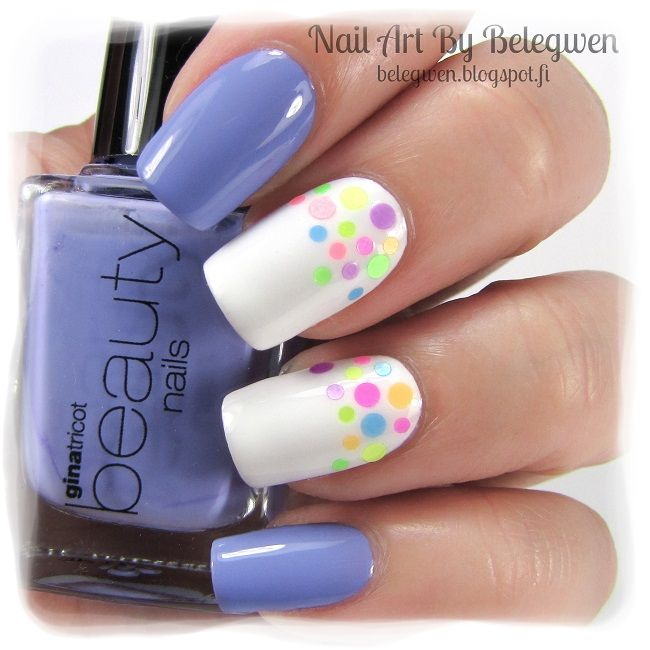 Nail Art by Belegwen: Gina Tricot Purple Mint & White. Round glitters are from Born Pretty Store.