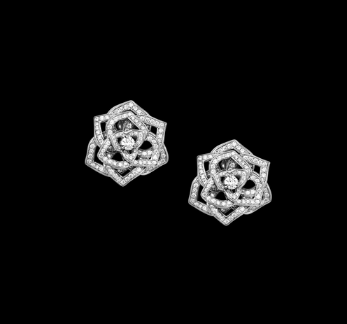 Pia Rose Earrings in White Gold