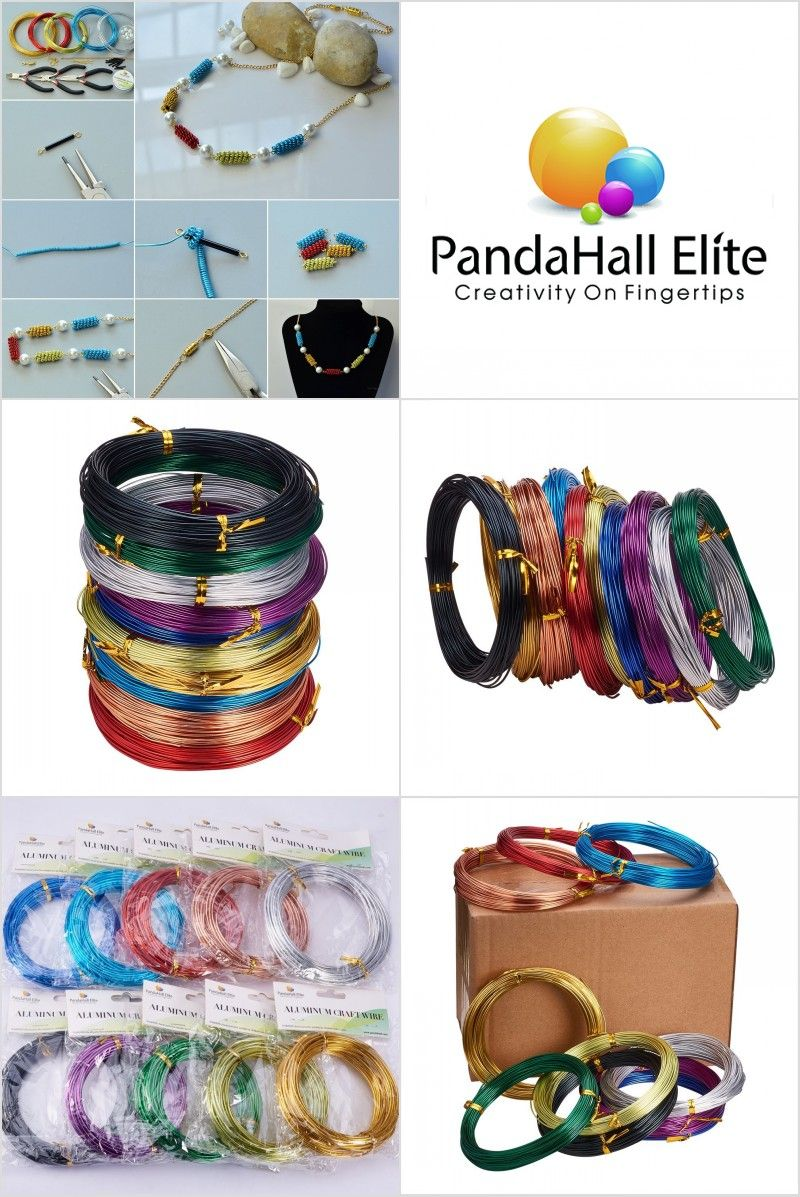 PandaHall Elite Pack of 10 Rolls Mixed Color Aluminum Wire Jewely ...