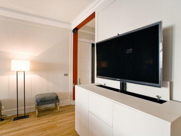 encastrable meuble cache tv